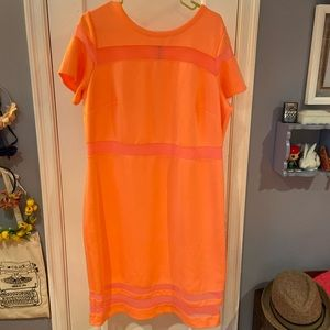 Hot coral/pink body on dress w/sheer panels 1x